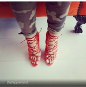 shoes,red,red high heels,lace up,high heel sandals,red high heel sandals