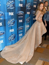 jennifer lopez,high low dress,sparkle,sparkly dress,nude dress,long sleeve dress,princess dress,blush pink