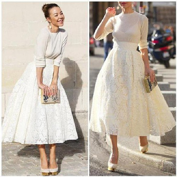 white 90s style skirt long sleeves wheretoget?