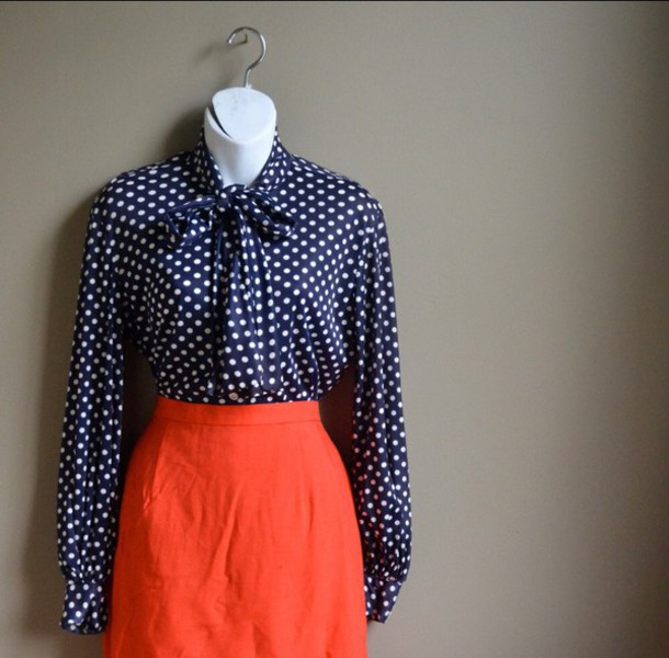 d8fb752b750c3 blouse blue blue shirt dark dark blue navy Pin up vintage 40 s 50s style  indie polka