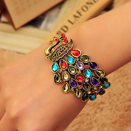[grxjy51201200]Boho Mixed Color Rhinestone Peacock Bangle Bracelet