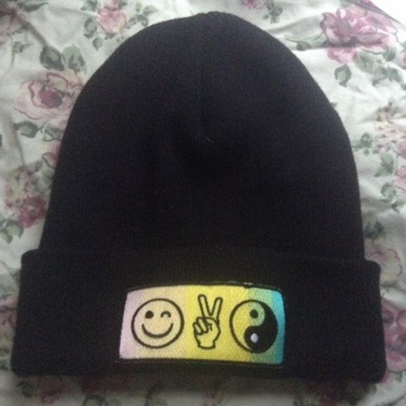 smiley face black yin yang peace sign beanie fashion clothes cute rainbow