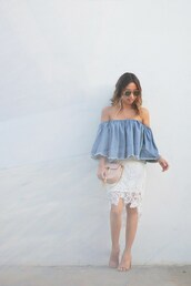 lace and locks,blogger,shoes,bag,sunglasses,off the shoulder,blue top,white skirt,lace skirt,nude heels,open toes,mini bag,pink bag,blue off shoulder top,top,denim top,off the shoulder top,frayed denim,white lace skirt,midi skirt,asymmetrical,asymmetrical skirt,chloe bag,chloe,aviator sunglasses,mules