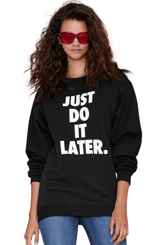 sweater just do it black fall outfits long sleeves print black long sleeve sweatshirt fashion style cool