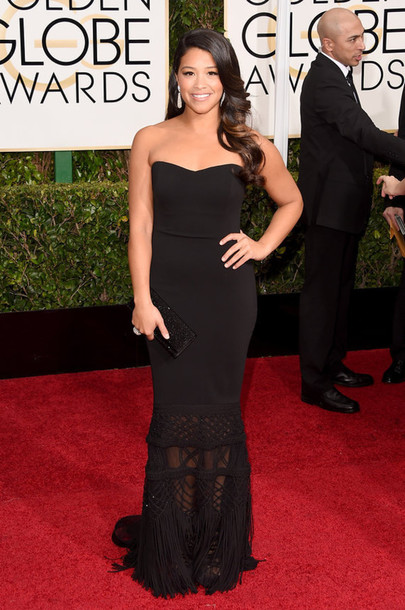 dress gina rodriguez red carpet dress Golden Globes 2015
