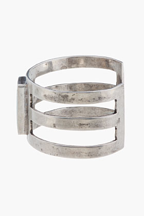 Pamela Love Antique Silver Turquoise Inlay Cage Cuff  for women | SSENSE