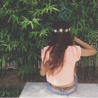 t-shirt top orange baby pink peach headband flower headbands floral headband floral flowers cute girly