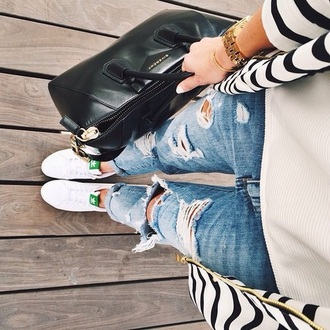 shoes adidas stan smith green white jeans bag
