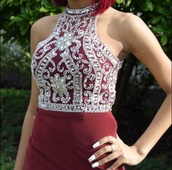 dress,prom dress,prom,red dress,high neck,sleeveless,burgundy dress,burgundy,red