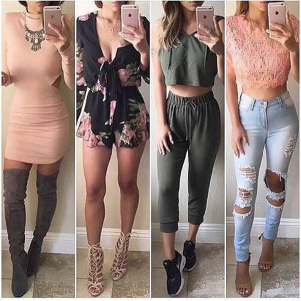 8531760b25c jeans blue jeans ripped jeans skinny jeans dress long sleeves long sleeve  dress outfit outfit idea