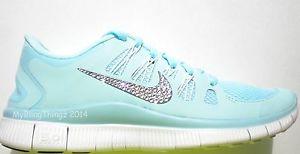 Nike Free Run 5.0  Shoes Glacier Ice - Crystal Bling Swoosh w/Swarovski Elements
