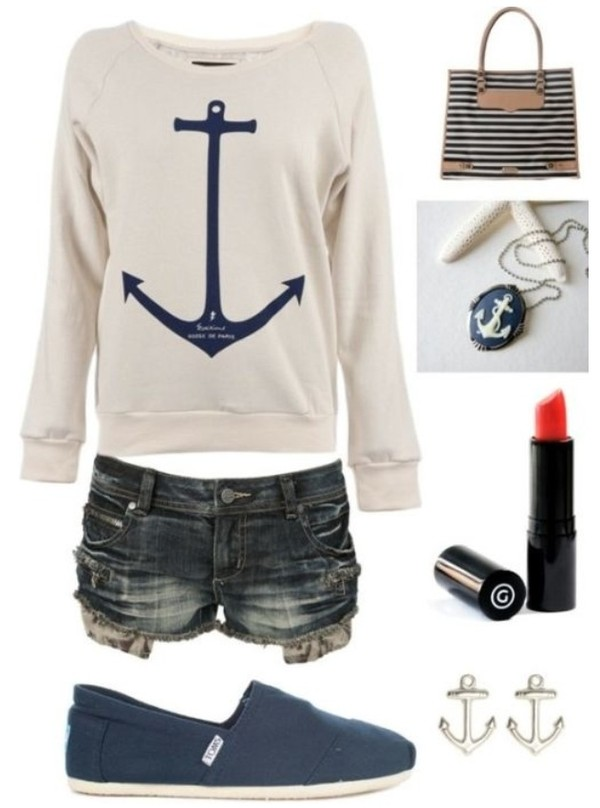 shirt sweater anchor shorts sailor clothes hiptser blu blue jewels shoes blouse toms anchor sweater pinterest white shirt anchor necklace striped purse red lipstick anchor earrings blue shoes knitted sweater anchor bracelet style outfit cream sweater long sleeves love it! anchor shirt long sleeve shirt earrings necklace love the shirt and shorts!  where can i find them?