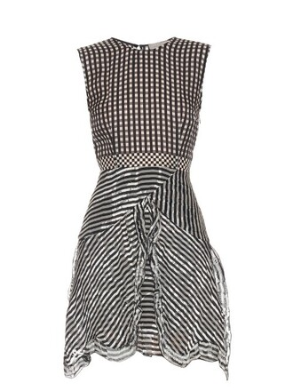 dress silk gingham white black