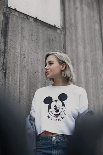 top tumblr white top mickey mouse disney white crop tops crop tops blonde hair hairstyles short hair 90s style
