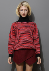 sweater,red,polo neck,cable knit