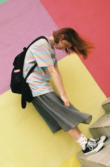 pastel pink blue cute kawaii grunge pale grunge yellow golfwang golf golf wang odd future ofwgkta wang pale skirt shirt