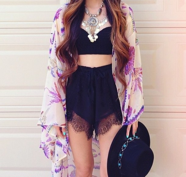 shorts hipster tank top blouse hat jewels kimono cardigan t-shirt crop tops top black lace necklace crop tops black lace shorts High waisted shorts style purple cute boho outfit gypsy festival coachella bra jumpsuit black shorts coat kimono kimono jacket floral kimono kimono franges short white pink long hair shirt sexy summer beautiful day night dress skirt home accessory