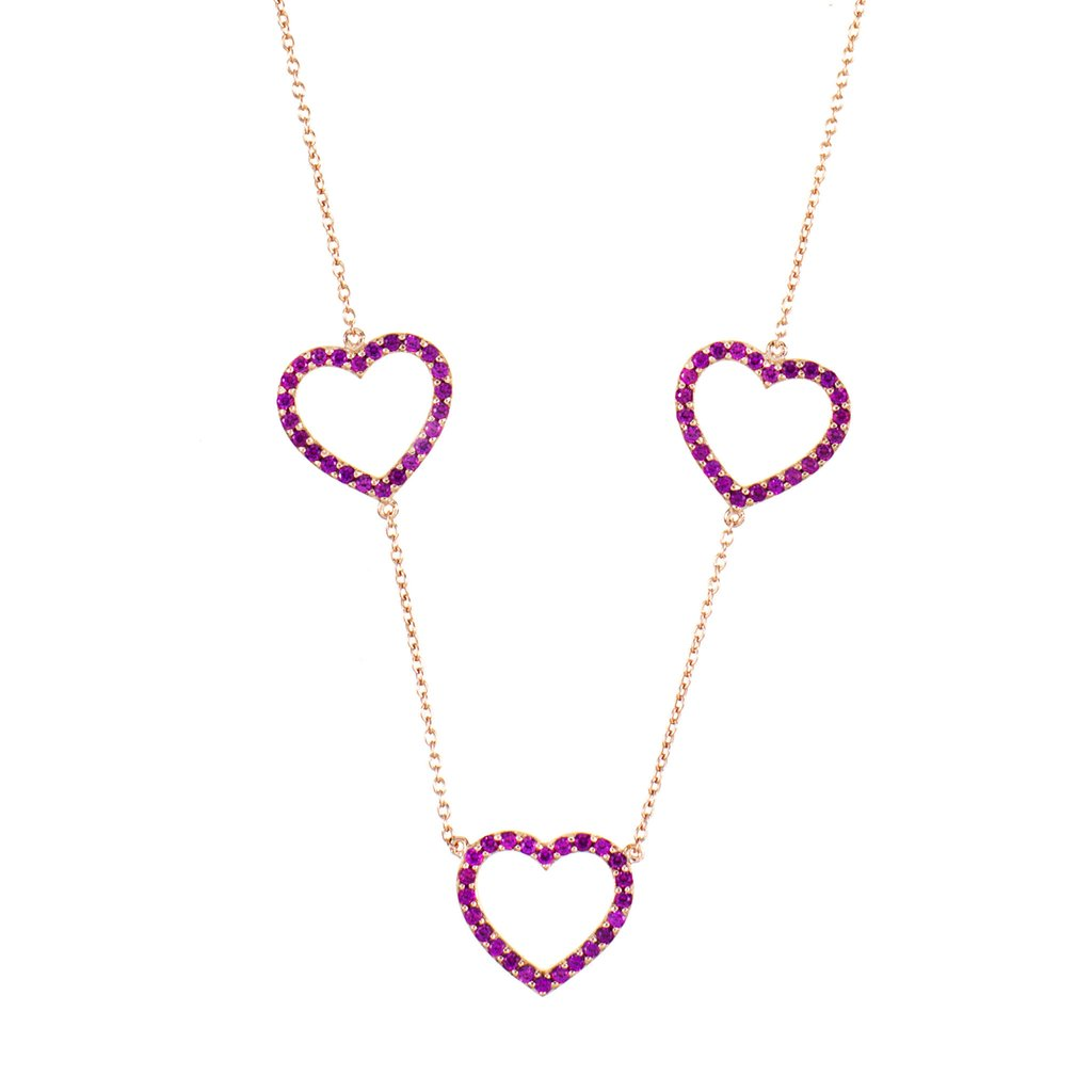 Rose Gold Heart Trilogy Necklace with Pink Stones – Rosie Fortescue Jewellery