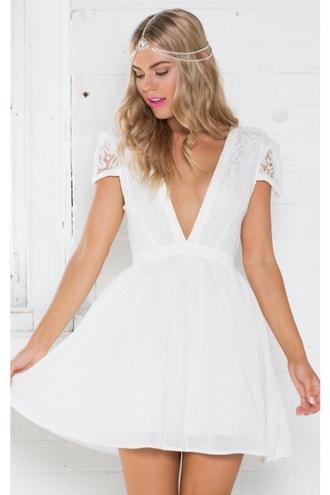 dress white lace showpo white dress