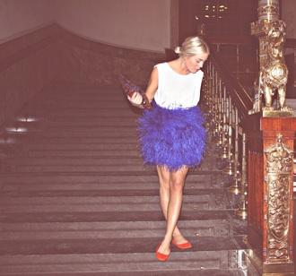 skirt blue blue skirt mini skirt feather skirt feathers