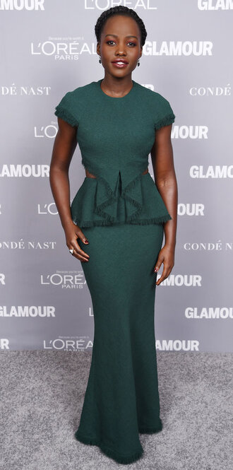 dress gown prom dress maxi dress green dress lupita nyong'o