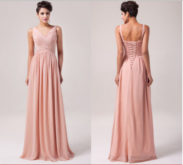 blush bridesmaid dress, long chiffon bridesmaid dress, v-neck ...