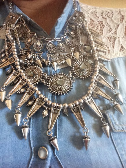 miami jewels trendy vintage silver look boho boho chic bohemian necklace boho chick statement necklace