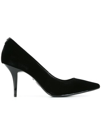 pointed toe pumps women pumps leather black velvet shoes