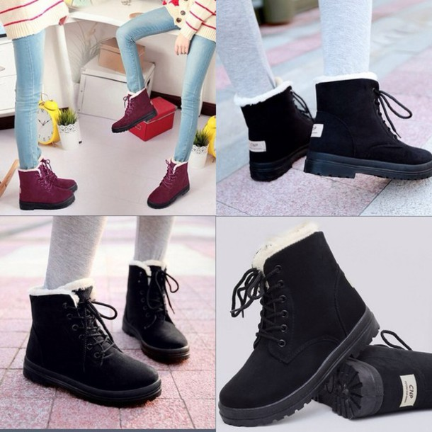 shoes cnp any color boots ankle boots warm fur lined lace up rubber sole bag snow boots winter outfits