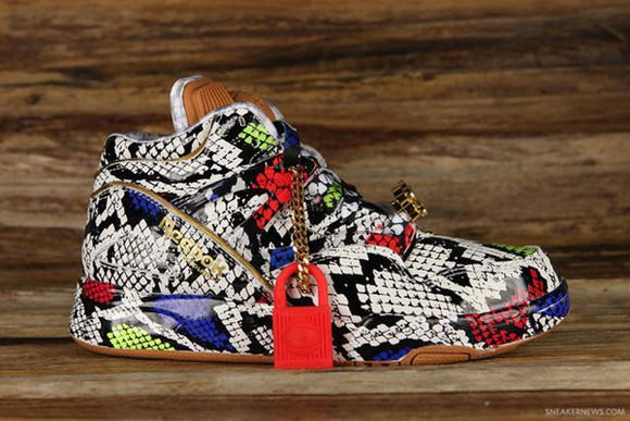 shoes pump reebok melody ehsani shoes red yellow green neon gold pattern snake print pants neon yellow gold lace lock