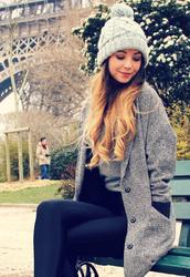 hat,beanie,pom pom beanie,knitted beanie,coat,cardigan,zoella