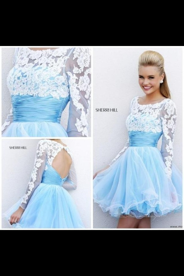 dress sherri hill prom dress short dress light blue