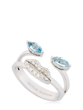 ring white blue jewels