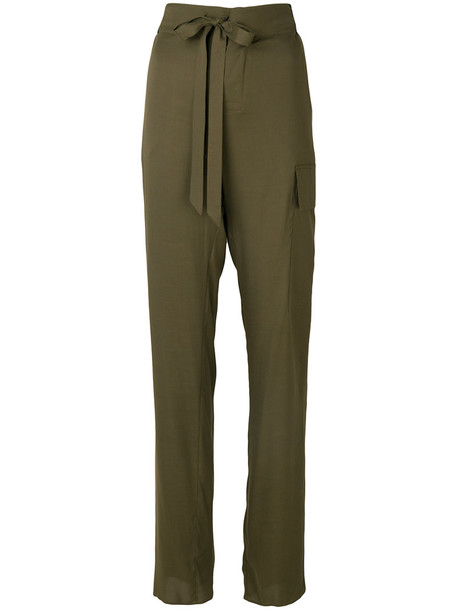 Tom Ford high women leather green pants