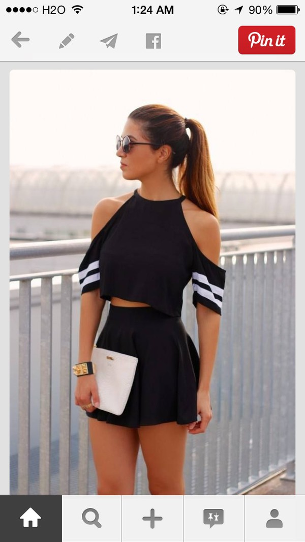 skirt shirt cute skirt cute black and white black shirt cropped biker cute fringed top crop tops top