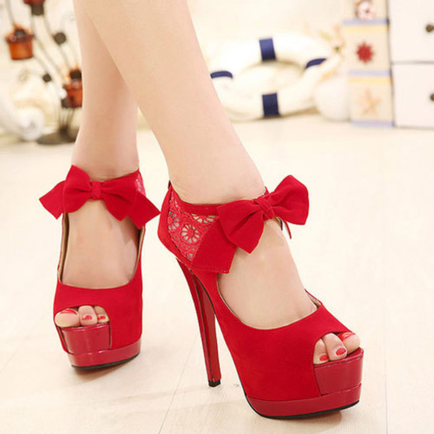 Red Peep Toe Heels With Bow