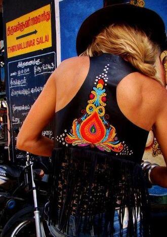 jacket vest boho boho chic black floral bohemian boho style pattern fashion festival tassel unique