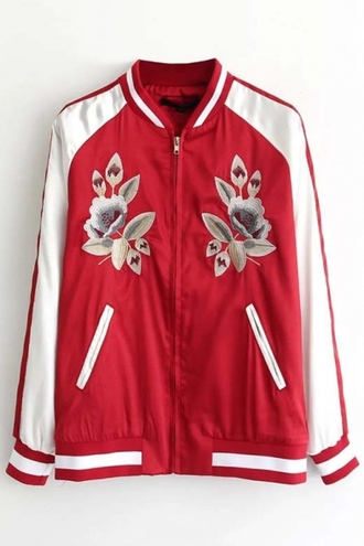 cardigan bomber jacket baseball jacket red floral long sleeves cool teenagers fashion style trendy beautifulhalo