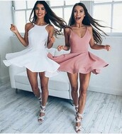 dress,pink dress,sleeveless,prom dress,pink,white,party dress,club dress,cute outfits,party outfits,outfit,outfit idea,date outfit,summer dress,cute dress,white dress,sexy dress,short dress,sexy party dresses,short party dresses,special occasion dress,clubwear,trendy,fashion,stylish,style,summer outfits,spring outfits,shoes,sexy shoes,party shoes,cute shoes,summer shoes,summer,party,elegant,casual,girl,women,women dress,sun,formal dress,formal event outfit,gold,suede,skater dress,skater,muave,pink dress summer spring,pink skirt,v neck,fit and flare,doesn't have to be this color