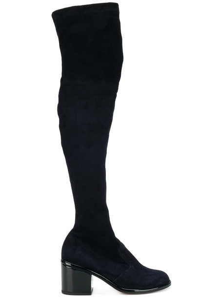 knee-high boots high women leather blue suede shoes