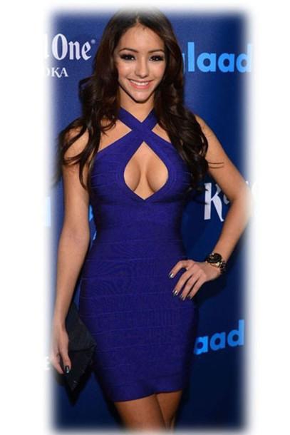 Dark blue bandage dress