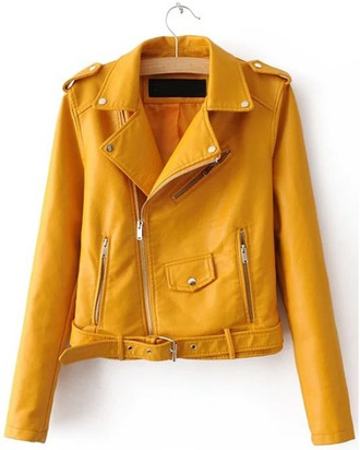 jacket girl girly girly wishlist yellow tumblr style zip leather motorcycle jacket leather leather jacket