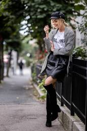 jacket,tumblr,blazer,grey blazer,check blazer,plaid blazer,skirt,mini skirt,boots,black boots,fisherman cap,t-shirt