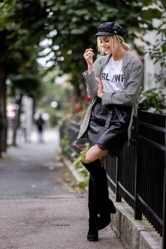 jacket tumblr blazer grey blazer check blazer plaid blazer skirt mini skirt boots black boots fisherman cap