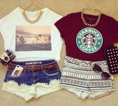 shirt,t-shirt,shorts,fashion,starbucks coffee,vintage,jewelry,sunglasses,belt,jewels,tank top,top,outfit,blouse,necklace,handbag,red,strarbucks,cute,white,black,summer,dip dyed,pants,aztec shorts,weheartit,denim,phone cover,wallet,cut off shorts,skirt,california,maroon starbucks t shirt,ombre,tribal pattern,chain,aztec short,acid wash,los angeles,tribal pattern shorts,beach,demin shorts,aztec,tumblr clothes,dark red,regular weekend outfit,palms tshirt,burgundy,crop tops,High waisted shorts,dip dye shorts,skyline shape,shoes,tumblr,tahirt,red and it says starbucks on  it  it,white blouse,red blouse,style,cute top,short shorts,best friend shirts,best friends top,pretty,girly