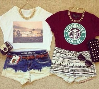 shirt t-shirt shorts fashion starbucks coffee vintage jewelry sunglasses belt jewels tank top top outfit blouse necklace handbag red strarbucks cute white black summer dip dyed pants aztec shorts weheartit denim phone cover wallet cut off shorts skirt california maroon starbucks t shirt ombre tribal pattern chain aztec short acid wash los angeles tribal pattern shorts beach demin shorts aztec tumblr clothes dark red regular weekend outfit palms tshirt burgundy crop tops high waisted shorts dip dye shorts skyline shape shoes tumblr tahirt red and it says starbucks on  it  it white blouse red blouse style cute top short shorts best friend shirts best friends top pretty girly
