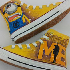 Minion painted shoes custom converse sneakers anime/fandom custom shoes, best gift for men women · fanartshoes · online store powered by storenvy