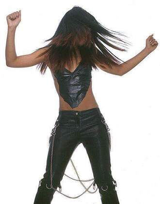 jeans black pants leather pants aaliyah dana haughton goth