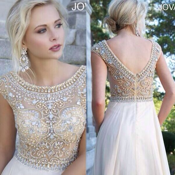 dress jovani prom dress white dress gold beading champagne prom dress partial open back dress gorgeous jovani pretty, elegant, gatsby, posh, white dress, jewels, prom dress elegant the great gatsby great gatsby cream classy cute dress lace dress cute gold sequin dress formal dress