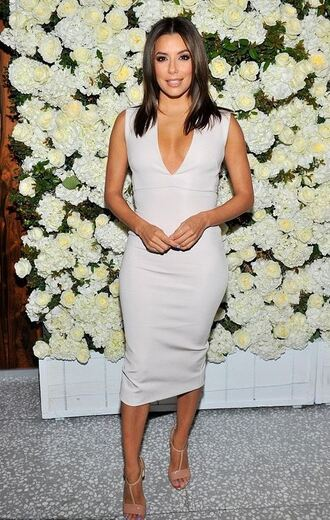 dress bodycon midi skirt midi dress eva longoria sandals plunge v neck shoes